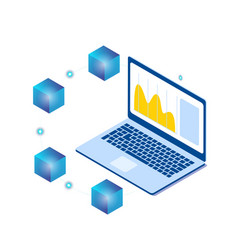 blockchain laptop isometric blockchain concept bac vector image