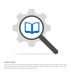 book mark icon search glass with gear symbol icon vector image