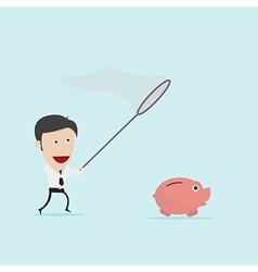 Businessman catching piggybank vector