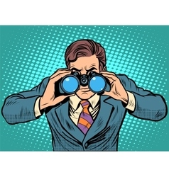 Businessman looking through binoculars Lead vector image