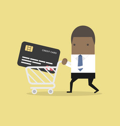 businessman with credit card in shopping cart vector image