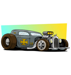 Cartoon retro vintage gray hot rod racing car vector