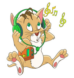 cat listening to music vector image