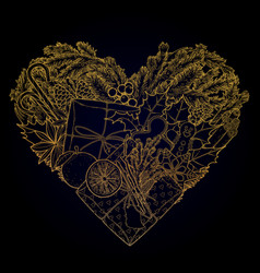 christmas design in the shape of heart vector image