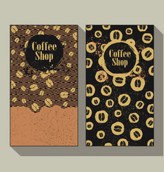 coffee shop set of two vintage labels vector image