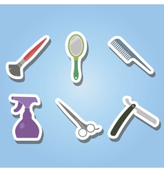 color icons with hairdressing supplies vector image