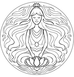 coloring lotus pose mandala vector image