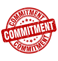 Commitment red grunge stamp vector