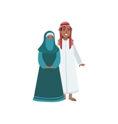 Couple In Arabic Emirates National Clothes vector