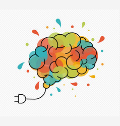 creative art idea concept of brain as light bulb vector image
