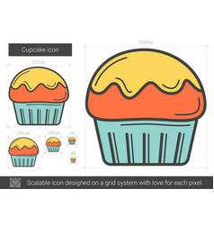 Cupcake line icon vector