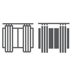 Curtains line and glyph icon furniture and home vector