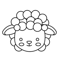 Cute little sheep animal character vector