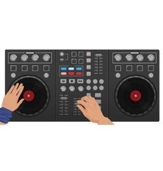 Dj hands playing vinyl top view interface vector