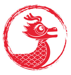 Drawing red chinese dragon symbol vector