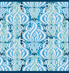 Elegance floral light blue 3d seamless pattern vector