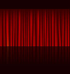 empty stage with red curtain seamless template vector image