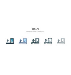 Escape icon in different style two colored and vector