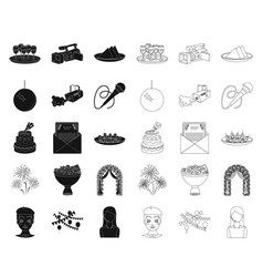 Event organisation blackoutline icons in set vector