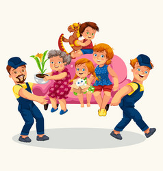Family moves colorful poster vector