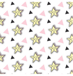 fashionable stars kids patches patterns vector image