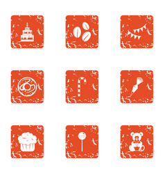 Fill the cake icons set grunge style vector