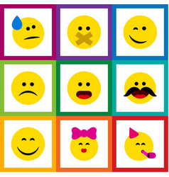 Flat icon emoji set of cheerful tears caress and vector