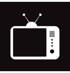 Flat icon in black and white style TV vector