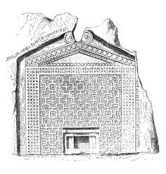 Grave midas rock-cut vintage engraving vector