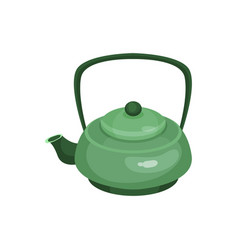 green ceramic teapot tea ceremony element cartoon vector image