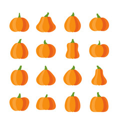 halloween pumpkin icon set flat style collection vector image
