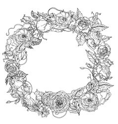 Hand drawing wreath Black and white Flower vector