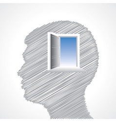 Hand drawn man s face with door in his head vector