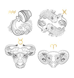 Hand drawn zodiac sign aquarius pisces taurus vector