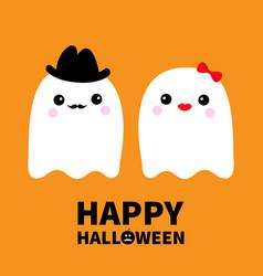 Happy halloween ghost spirit family couple vector