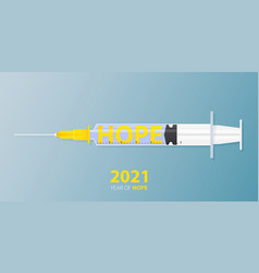 Happy new year 2021 banner with covid-19 vaccine vector