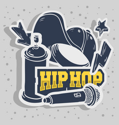 Hip hop stickers design with baseball hat snapback vector