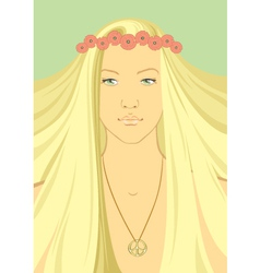 Hippy Girl with a wreath of flowers on vector image