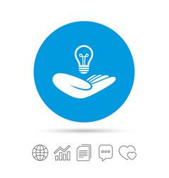 Idea insurance sign hand holds lamp bulb symbol vector