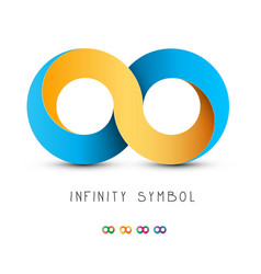 infinity symbol gold and blue endless icon vector image