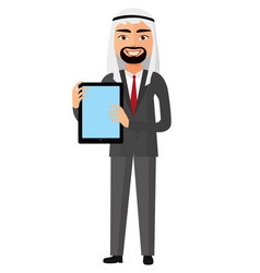 iran business man showing something on the tablet vector image