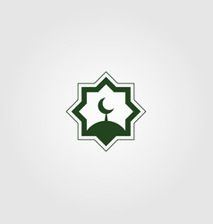 Islamic logo symbol dome and moon design vector
