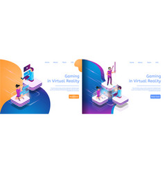 isometric online communicating virtual gaming vector image