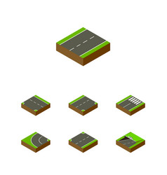 Isometric road set of subway down driveway and vector
