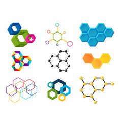 linear hexagon design elements different vector image