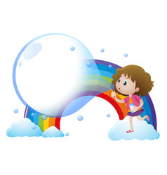 little girl blowing bubbles with rainbow vector image
