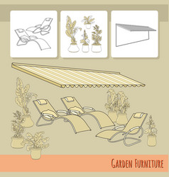 Lounge chairs patio awning and flowers in po vector