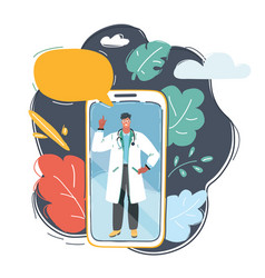 male doctor on smartphone vector image