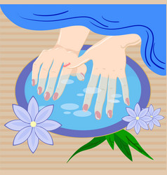 Manicure hand care woman s manicured hands with vector