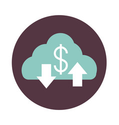 Mobile banking cloud computing down and upload vector
